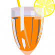 Stock Vector: Glass of orange juice