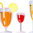 Stock Vector: Three alcoholic glasses