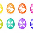 Collection of eight easter-eggs - Imagens vectoriais em stock