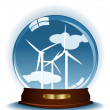 Blue sphere with wind turbines - Imagen vectorial