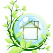 Stock Vector: Green house into blue ball with plant