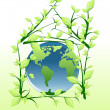 Planet into green house — Stock Vector