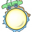 Green car over ball — Stock Vector
