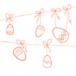 Several red eggs hanging on threads - Image vectorielle