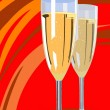 Two champagne flutes — Stock Vector