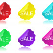 Stock Vector: Glossy sale tag stickers
