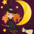 Stock Vector: Witch with black cat on broom