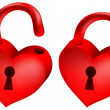 Stock Vector: Two red locks in form of heart