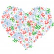 Royalty-Free Stock Vectorielle: Heart of red and blue flowers
