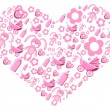 Pink creative heart - Stock Vector