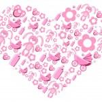 Pink creative heart — Stock Vector