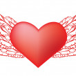 Stock Vector: Red heart with wings
