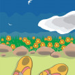 Beach sandals placed on the sand — Imagen vectorial