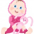 Baby in pink wear with bunny — Stock Vector