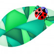 Ladybug on the leaf — Imagen vectorial