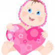 Lovely infant with pink heart — Imagen vectorial