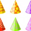 Six color party hats — Stock Vector