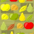 Apples, pears and leaves — Stock Vector