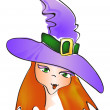 Royalty-Free Stock Vector Image: Pretty witch with hat