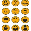 Halloween pumpkin smiles - Stock Vector