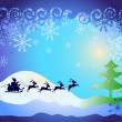 Santa Claus in sled with reindeers and Christmas tree with balls - Stock Vector