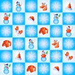 Snowflakes, snowmen, santa hats and winter clothing in blue squares — Stock Vector