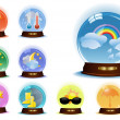 Set of globes with weather phenomenons — Stockvektor