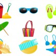 Beach accessories — Stock Vector
