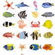 Collection of marine animals — Stock Vector #11697327