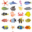 Stock Vector: Collection of marine animals