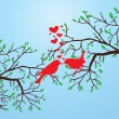 Birds kissing - Vettoriali Stock