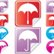 Bright stickers with umbrella  — 图库矢量图片