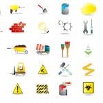set di sotto le icone per l'edilizia — Vettoriale Stock