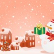 Christmas houses and snowman — Stock Vector