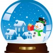 Christmas houses and snowman in a sphere — Stock Vector