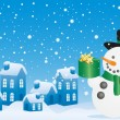 Royalty-Free Stock Vektorgrafik: Christmas snowman with gift