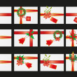 Collection of card with ribbon and mistletoe — Stock Vector