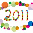 2011 year number surrounded by multicolored circles - Stock Vector