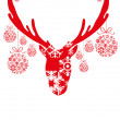 Red head of deer with Christmas balls — Stock Vector #11697606