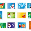 Christmas and new years stamps - Imagens vectoriais em stock