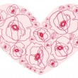 Heart with flowers — Imagen vectorial