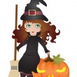 Stock Vector: Witch with pumpkin