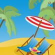 Lounge chaises with umbrella on the beach — Stock Vector