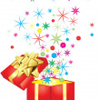 Gift with colorful stars - Image vectorielle