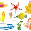 Vector de stock : Summer objects
