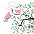 Vector de stock : Spring love of birds