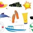 Stock Vector: Summer and travel set