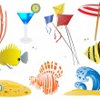Set of summer objects - Stock Vector