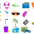 Vacation and travel icons — Imagen vectorial