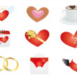 Symbols connected with Valentine's Day — Stock Vector